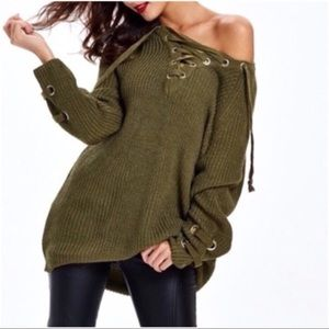 Sweaters - Olive Lace Up Sweater